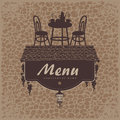 Menu with a roof grapes and restaurant furniture Stock Photo