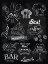 Menu set on chalkboard vector chalk background Royalty Free Stock Photography