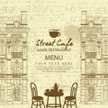 Menu for sidewalk cafe with table and architecture