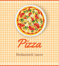 Menu template with pizza for restaurant Stock Images