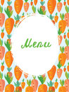 Menu template for vegetarian cafe carrot funny design Stock Photography