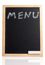 Menu title written with chalk on blackboard isolated on white background Royalty Free Stock Photography