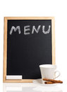 Menu title written with chalk on blackboard isolated on white background Stock Image