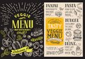 Menu for vegetarian restaurant. Vector food flyer for bar and ca