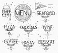 Menu in vintage modern style lines drawn with symbols pizza pasta seafood wine cocktails coffee chef dish open on paper background Stock Photography