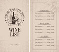 Menu of wine with a bottle glasses and a bunch grapes Royalty Free Stock Images