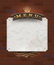 Menu wooden signboard and paper banner on vintage brick wall Royalty Free Stock Image