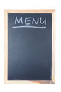 Menu word written on chalkboard Royalty Free Stock Photo