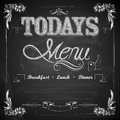 Menu written on chalkboard illustration of Stock Photography