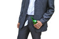 Menwith green glass bottle forgot to zip up his pants men in dark suit with Royalty Free Stock Photos