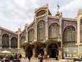Mercado central or mercat central central market in valencia spain july from is a public located across from the llotja de Royalty Free Stock Image