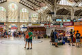 Mercado central or mercat central central market in valencia spain july from is a public located across from the llotja de Royalty Free Stock Photo