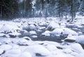 Merced River in Winter, Yosemite National Park, California Royalty Free Stock Photo