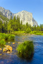 Merced river at yosemite national view to western rocket plateau of park seen from beautiful Royalty Free Stock Photos