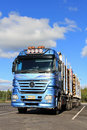 Mercedes Benz Actros Logging Truck with Full Timber Trailers Royalty Free Stock Photo