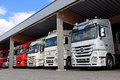 Mercedes benz actros trucks in a vehicle storage lieto finland august carport lieto finland on august daimler reports successful Stock Image