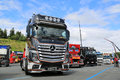 Mercedes benz actros uniq concept truck hameenlinna finland july on display at tawastia weekend Royalty Free Stock Photos