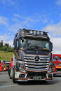 Mercedes benz actros uniq concept truck hameenlinna finland july on display at tawastia weekend Royalty Free Stock Photo