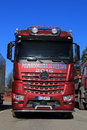 Mercedes benz arocs l x timber truck salo finland march for log loading competition the th tour for finnish championships of log Royalty Free Stock Image