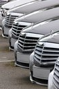 Mercedes benz cars lined up for sale Stock Images