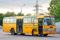 Mercedes benz o moscow russia june yellow interurban coach at the bus station Royalty Free Stock Image