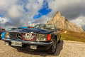 Oldtimer Mercedes Benz 500 in Passo Giau Royalty Free Stock Photo