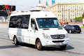 Mercedes benz sprinter moscow russia may luxury van in the city street Royalty Free Stock Image
