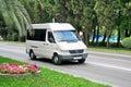 Mercedes benz sprinter sochi russia july white passenger van at the city street Royalty Free Stock Photos
