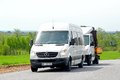 Mercedes benz sprinter tatarstan russia may white vans at the interurban road Stock Images