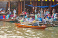 The merchants sell the foods at Umpawa Floating Market Royalty Free Stock Images