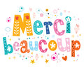Merci beaucoup thank you very much in French lettering design Royalty Free Stock Photo