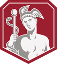 Mercury Hold Caduceus Staff Circle Retro Royalty Free Stock Photography