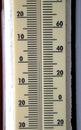 Mercury mark at zero degrees temperature during snowfall Stock Photography