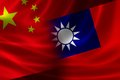 Merged flag of china and taiwan d rendering a chinese taiwanese on silky satin concept the unique cross strait relations between Royalty Free Stock Image