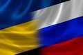 Merged flag of ukraine and russia russian on satin texture concept the long historical political relations between the two Stock Photo