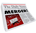 Merger Newspaper Headline Big Breaking News Story Update Company Fotos de archivo libres de regalías