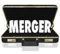 Merger Word Business Briefcase Combine Companies Offer Proposal Stock Image