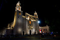 Merida Cathedral at night Royalty Free Stock Photo
