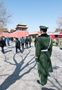 Meridian gate beijing china march th chinese soldier on guard near wumen in forbidden city Stock Photography