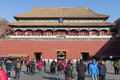 Meridian gate wumen of beijing forbidden city being repaired in winter its the largest and most imposing to the china Royalty Free Stock Images