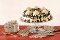 Meringue cake with mascarpone cream and chocolate from series winter pastry Royalty Free Stock Photography