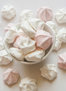 Meringue cookies in bowl close up Royalty Free Stock Photos