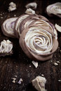 Meringue rose close up of chocolate dipped blueberry roses Royalty Free Stock Photography