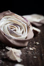 Meringue rose close up of chocolate dipped blueberry roses Royalty Free Stock Photo