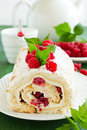 Meringue roulade with cream Royalty Free Stock Photo