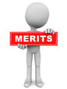 Merits merit advantages pros and positives concept word held up by little d man on red label Stock Images