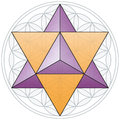 Merkaba and flower of life the the double tetrahedron fits in the a geometrical figure composed multiple evenly spaced overlapping Stock Photography