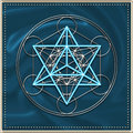 Merkaba metatrons cube illustration frame Royalty Free Stock Photo