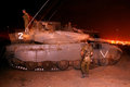Merkava tank nachal oz isr june at night on june it has the israeli designed tsaws system designed to endure the harsh basalt rock Stock Photos