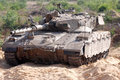 Merkava tank zikim isr july on july the mark iv has the israeli designed tsaws system it designed to endure the harsh basalt rock Royalty Free Stock Images